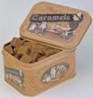 present sweet candy metal container caramels stock photo