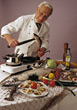 Chefs chef cook kitchen food senior home stock photo