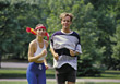 exercising jogging fitness exercise young people stock image