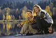 fall outdoors forest people couples autamn stock image