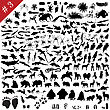 # 3 Set Of Different Animals, Birds, Insects And Fishes Vector Silhouettes stock illustration