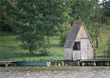 Landscapes water hut shack pier summer lake stock photo