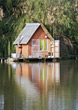 water hut shack summer fishing rowboat stock image