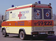 van accident ambulance german emergency rescue stock photo