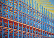 modern scaffolding blue metal background architectural stock photography