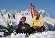 skiing sport relaxing people skier sitting stock photo