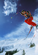 skiing winter jumping snow outdoor active stock photo