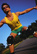 teen holding rollerblades teenager outdoor rollerblading stock photography