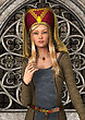 3D Digital Render Of A Beautiful Blond Medieval Ladyon A Fairytale Castle Background