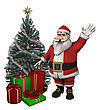 3D Digital Render Of A Beautiful Christmas Tree, Santa Smiling And Vaving And Gifts Isolated On White Background