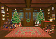 3D Digital Render Of A Beautiful Christmas Trees And Lots Of Children's Toys In A Cozy Room On The Background Of Windows With Light And Snow Reflections
