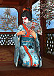3D Digital Render Of A Beautiful Geisha Wearing Traditional Clothes Sitting In A Pavilion, Blue Sky And Cherry Blossom Background