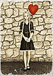 3D Digital Render Of A Beautiful Teenager Girl Holding A Red Balloon In A Heart Form On A Stone Wall Background, Old Photo And Colorkey Effect