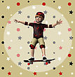 3D Digital Render Of A Boy On A Skateboard On White Background