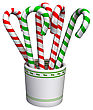 3D Digital Render Of Candy Canes In A Cup Isolated On White Background