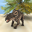 3D Digital Render Of A Ceratopsian Dinosaur Einiosaurus On A Green Palm And Blue Sky Background