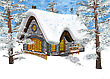 3D Digital Render Of A Christmas Cottage Under The Snow In A Winter Forest, Blue Sky Background, Painting Effect