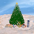 3D Digital Render Of A Christmas Tree And Presents On A Sky And Snow Background