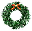 3D Digital Render Of A Christmas Wreath With A Red Bow Isolated On White Background