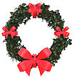 3D Digital Render Of A Christmas Wreath With A Red Ribbons Isolated On White Background