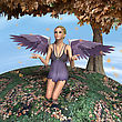3D Digital Render Of A Cute Autumn Angel Near The Maple Tree, Blue Sky Background