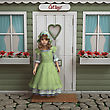 3D Digital Render Of A Cute Vintage Girl Standing Near The Beautiful Retro Cottage