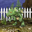 3D Digital Render Of A Little Dragon On Blue Night Sky And Green Plants Background