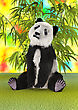 3D Digital Render Of A Panda Bear And Green Bamboo Plants On A Colorful Background