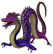 3D Digital Render Of A Purple Fantasy Eastern Dragon Isolated On White Background
