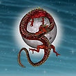 3D Digital Render Of A Red Fantasy Eastern Dragon, A Fool Moon And Stars On Blue Sky Background