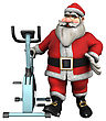3D Digital Render Of A Santa Ready To Exercise On A Bike Isolated On White Background stock image
