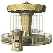 3D Digital Render Of A Vintage Swing Carousel And A Ticket Booth Isolated On White Background
