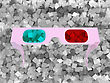 3D Glasses Over Grey Textured Cubes Background