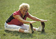 Retiring old weight fitness sports exercise people stock photo