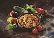 stew plate pasta cooked pot main stock image