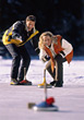 vacation winter curling snow sports recreation stock photo