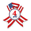 4th Of July Independence Day Badge With Ribbon
