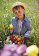 girls Easter eggs bunny boys nest stock photography
