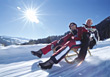 old adult sled relaxing recreation people stock image
