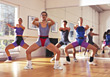 studio exercising fitness aerobics exercise adult stock image
