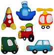 6 Felt Toys Vehicles stock photo