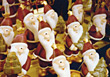 decoration xmas figurines backgrounds Christmas santas stock photo