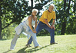 exercising old fitness exercise leisure adult stock image