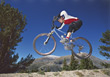 mountain jumping male sport leisure people stock image