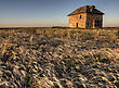 Abandoned Stone House At Sunset Saskatchewan Canada stock photo