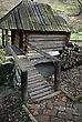 Abandoned Traditional Old Wooden Mill At Mountain Forest Creek