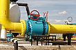 Above Ground Gas Pipeline And Flanged Ball Valve. stock image