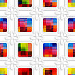 Abstract 3d Geometrical Seamless Background. Colorful Squares And White Flowers Cut Out Of Paper Effect