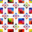 Abstract 3d Geometrical Seamless Background. Colorful Squares And Colorful Flowers On Net With Cut Out Of Paper Effect