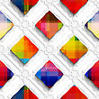 Abstract 3d Geometrical Seamless Background. Rainbow Colored Rectangles On White Ornament With Cut Out Of Paper Effect stock illustration